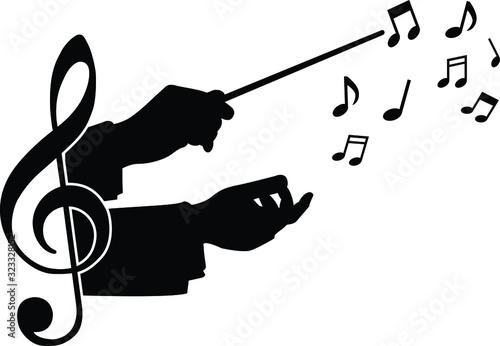 Tableau sur Toile choir guide music, vector illustration