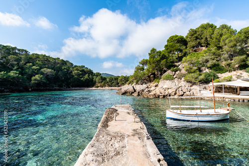 Ibiza summer. Cala Mastella dock, Ibiza. Spain.