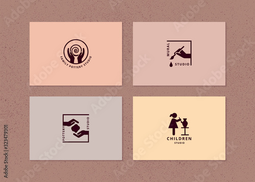 Vector layout of business card with logo for art studio, pottery or ceramic stud Fototapeta