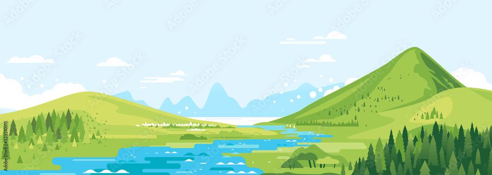 Zielone góry w słonecznym dniu z rzeką w dolinie i świerkowym lesie w prostej geometrycznej formie, natury turystyki krajobrazu tło, podróży gór przygody ilustracja <span>plik: #323510315 | autor: Oceloti</span>