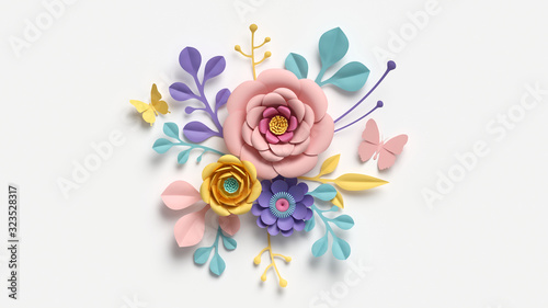 Stampa su Tela 3d render, abstract cut paper flowers isolated on white, botanical background, festive floral arrangement