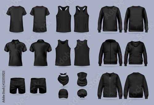 Fényképezés Blank black collection of men's clothing templates