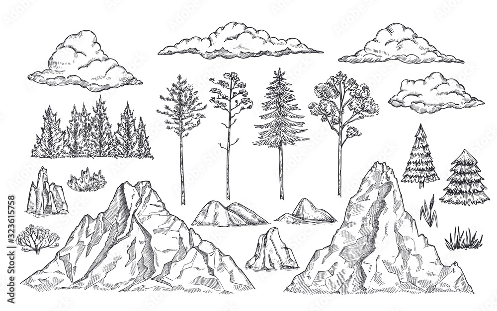 Nature landscape elements. Mount rocks, trees and bush. Sketch isolated park, garden or forest silhouettes. Hand drawn mountains vector set. Illustration rock sketch, landscape mountain <span>plik: #323615758 | autor: MicroOne</span>