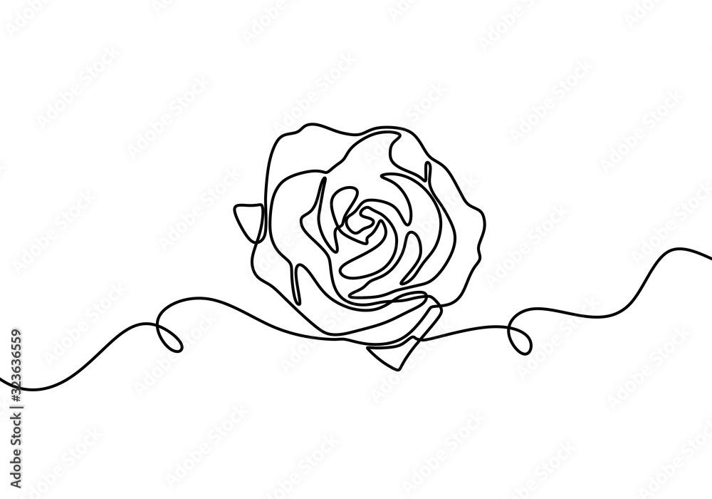 One line rose flower. Hand drawn minimalism style vector illustration. Botanical romantic garden drawing. <span>plik: #323636559 | autor: ngupakarti</span>