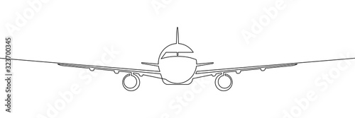 Stampa su Tela Front view of passenger plane flying