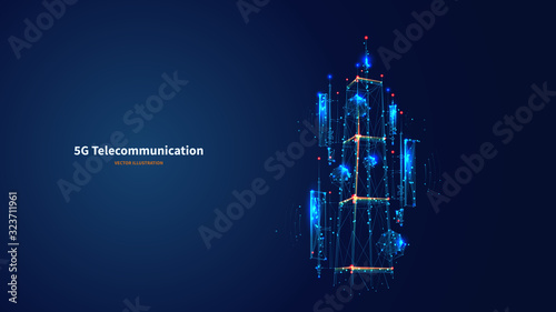 Stampa su Tela Blue abstract 3d isolated 5G antenna on innovation technology background