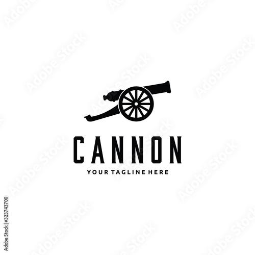 Fotografie, Obraz cannon artillery logo vintage illustration design vector icon