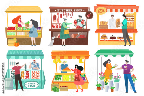 Stampa su Tela People at food market buy and sell farm products, fruit and vegetable stall, vector illustration