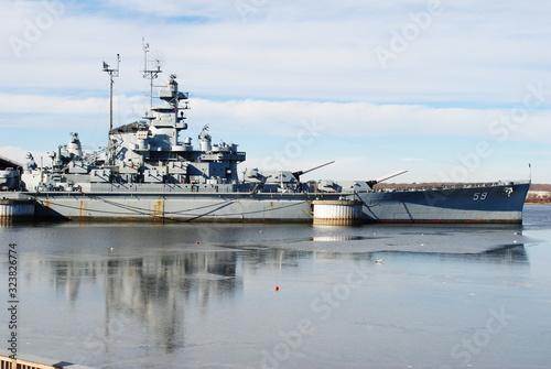 Canvas Print Battleship Cove Maritime Museum, Fall River Massachusetts January 2020