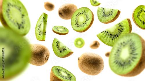 Fotografia Kiwi fruit levitating on a white background