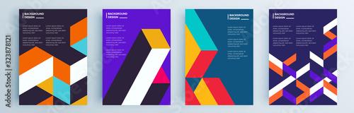 Fototapeta premium Zestaw nowoczesnych abstrakcyjnych okładek, minimalistyczny projekt okładek. Kolorowe tło geometryczne, ilustracji wektorowych.