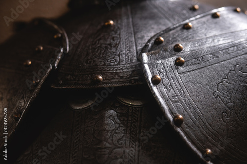 Photo Close up detail Background with armour of the medieval knight