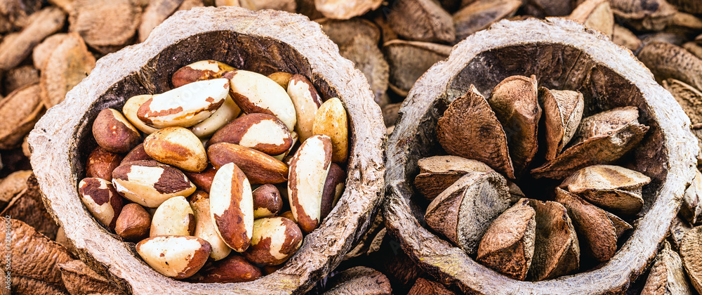 Brazil nuts inside the coconut. In portuguese castanha do pará, closed and open, on the market for sale. Background image, thematic Brazilian cuisine.