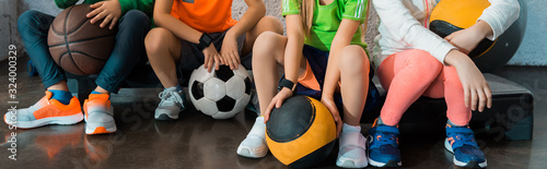 Fotografia Cropped view of children sitting on step platforms with balls in gym, panoramic