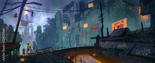 Fotografie, Obraz Digital concept art style painting of a whimsical sci-fi environment - digital f