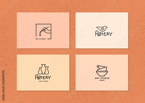 Foto Vector layout of business card with logo for art studio, pottery or ceramic stud