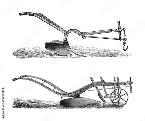 Photo Old plough / vintage illustration from Brockhaus Konversations-Lexikon 1908