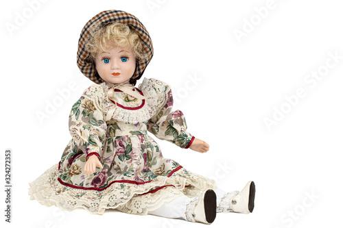 Porcelain doll,  isolated on white background Fototapet