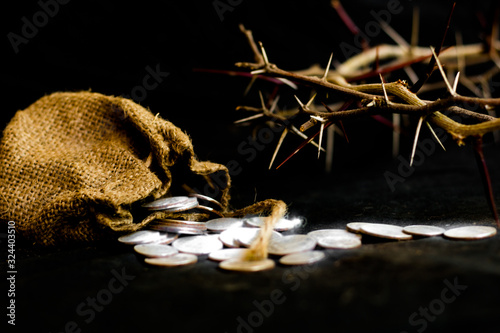 Obraz na plátne sack with the thirty silver coins biblical symbol of the betrayal of judas