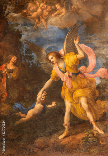 Slika na platnu RAVENNA, ITALY - JANUARY 28, 2020: The painting of Guardian angel in church Chiesa di Santa Maria del Porto by Vincenzo Spisano from 17