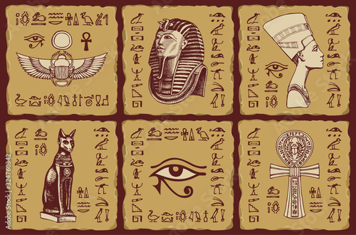 Canvas Print Set of vector banners in the form of ceramic tiles with hieroglyphs and illustrations on the theme of Ancient Egypt