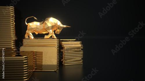 Fotografia Rising gold prices on the stock market. 3d illustration.