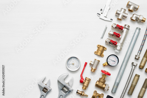 Leinwand Poster Plumbing flat lay concept background with copy space