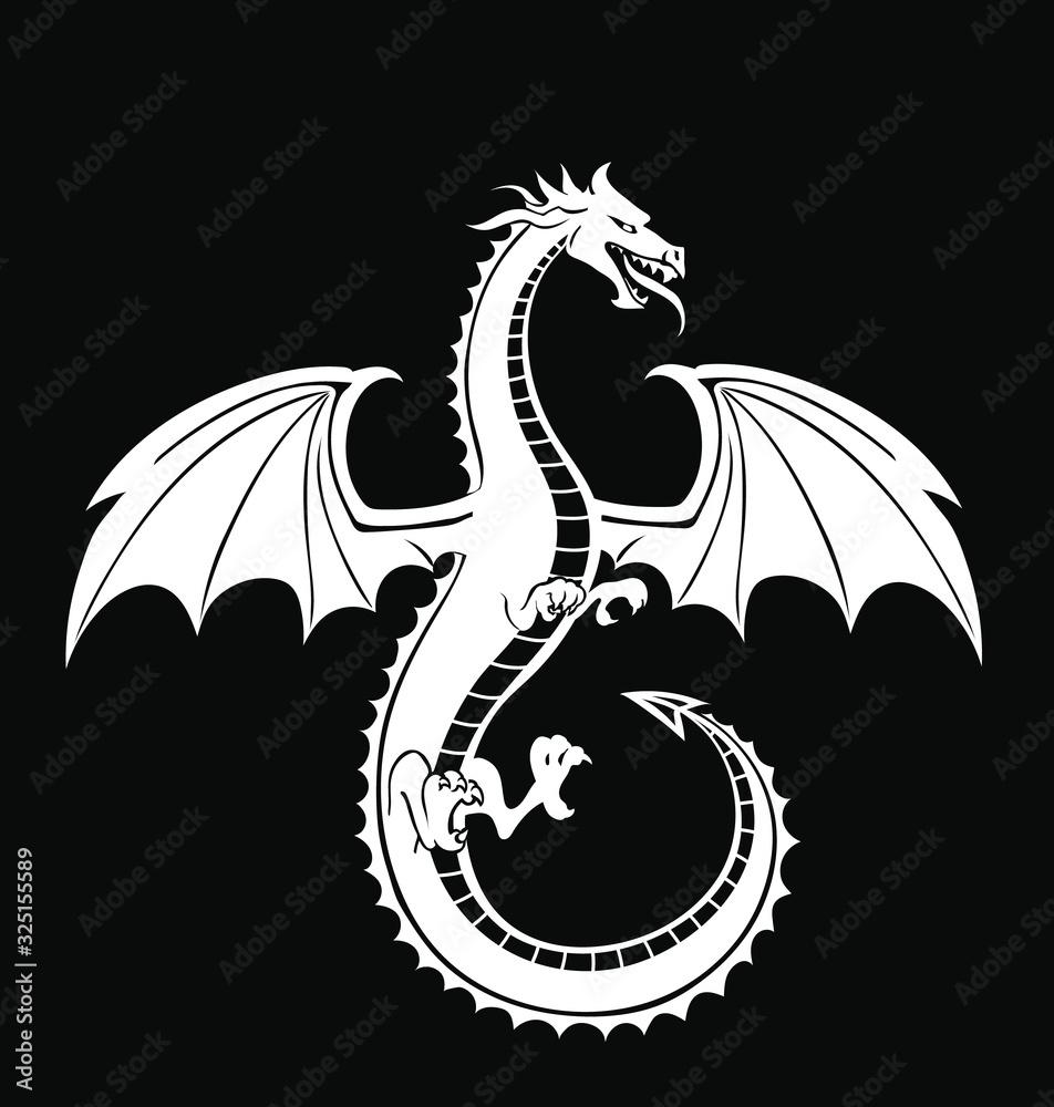 Stylized white Dragon silhouette on black background <span>plik: #325155589   autor: lightgirl</span>