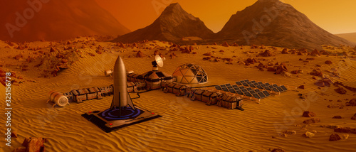 Fotografia an outpost on the red planet mars (3d rendering)