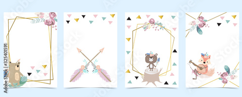 Pink green gold geometry baby shower invitation with bear,fox,arrow,feather. Vector birthday invitation for kid and baby.Editable element