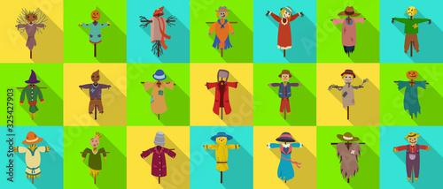 Fotografia Garden scarecrow vector flat set icon