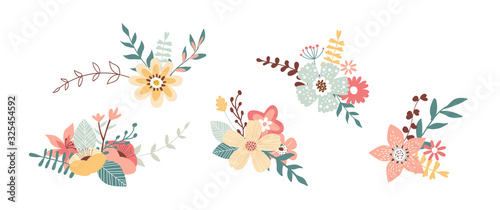 Photographie Floral spring bouquet nature set isolated