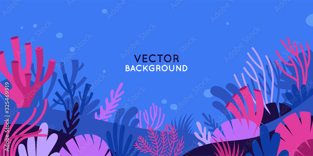 Vector horizontal background with underwater scene and nature <span>plik: #325469919 | autor: venimo</span>