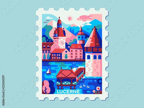 Fotografie, Obraz Alps Mountains Town Lucerne Vintage Travel Mark