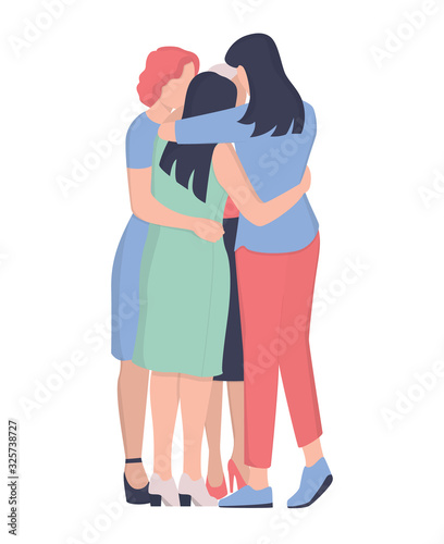 Photo Women group hugging together