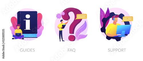 Obraz na plátně Info center, customer online communication web icons set
