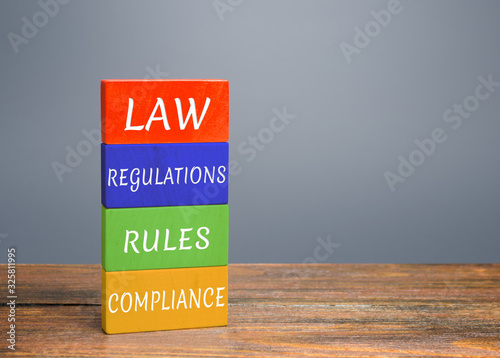 Colored blocks with words law, regulations, rules, compliance Poster Mural XXL