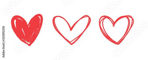 Canvastavla Heart doodles set