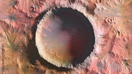 Valokuva Mars Planet, Crater top view 3d illustration