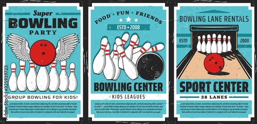 Stampa su Tela Bowling alley with balls and pins, vector posters