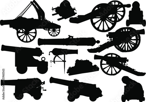 Photo Set of black silhouettes of varied medieval artillery siege of fortress and sea