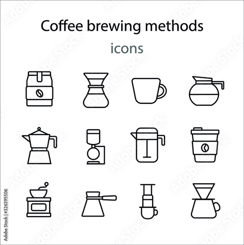 Photographie Coffee brewing methods simple line icon vector illustration
