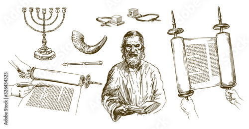 Fototapeta Jewish man reading torah, jewish symbols. Hand drawn set.