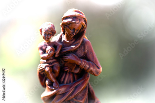Obraz na plátně Wax Statue of the infant Jesus Christ with his mother virgin Mary