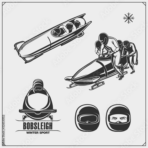 Photo Set of bobsleigh emblems, labels and design elements
