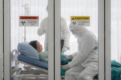 Obraz na płótnie coronavirus covid-19 infected patient on bed in quarantine room with quarantine