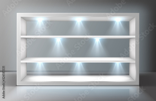 Stampa su Tela Glass wall display case frame with shelves in empty exhibition room realistic vector