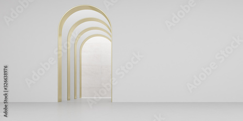Fototapeta View of empty white room with arch design and concrete floor,Museum space, Chapel entrance, Perspective of minimal architecture