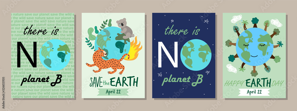Earth Day concept posters with hand drawn Planet Earth <span>plik: #326653930 | autor: CreativeUniverse</span>