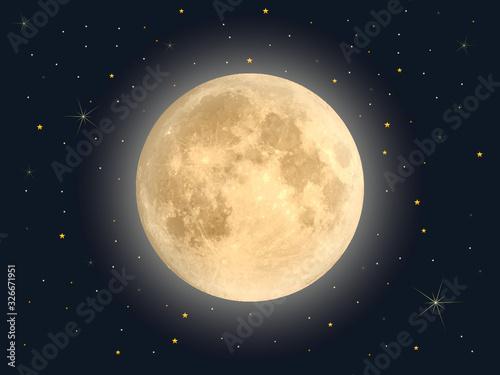 Full moon with star , Vector Fototapet